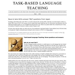 Task-Based Language Teaching › Dave & Jane Willis answer TBLT questions from Japan
