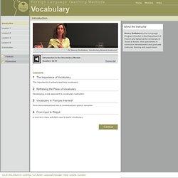 Foreign Language Teaching Methods: Vocabulary