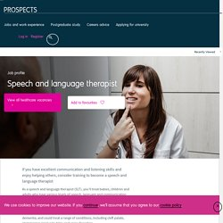 Speech and language therapist job profile