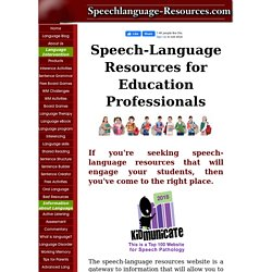 Speech-language therapy resources and games that work