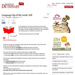 Language tip of the week: tell