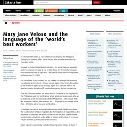 Mary Jane Veloso and the language of the 'world's best workers'