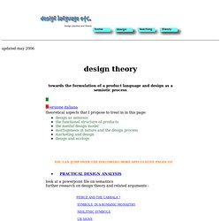 design theory as analysis of a product languagedesign theory and practice: morphology, semiotics