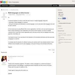 Multi-languages on Zoho Invoice - Zoho Corporation