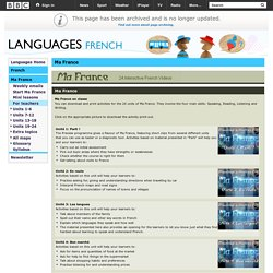 Languages - French - Ma France - Suggested activities for tutors