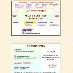 langue, anagrammes, jeux avec les lettres des mots