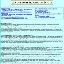 LANGUE PARLÉE, LANGUE ÉCRITE