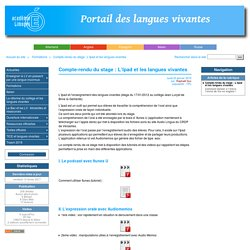 Compte-rendu du stage : L'Ipad et les langues vivantes - Académie de Limoges : Langues Vivantes