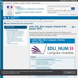 Lettre Édu_Num Langues vivantes N°28 (janvier 2017) — Langues vivantes