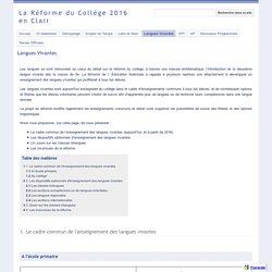 Langues Vivantes - La Réforme du Collège 2016 en Clair