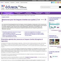 Langues vivantes - Ressources pour les langues vivantes aux cycles 2, 3 et 4