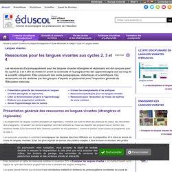 Ressources d'accompagnement Cycles 2, 3 et 4 ( Eduscol)