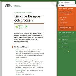 Länktips för appar och program (Utforska vidare, Appar och program) – Kodboken