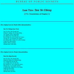 "Lao Tzu: ""Tao Te Ching"" (170+ translations of Chapter 1)"