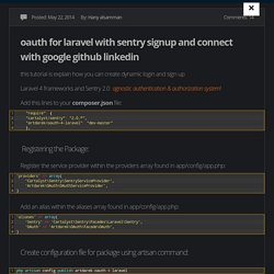oauth for laravel with sentry signup and connect with google github linkedin