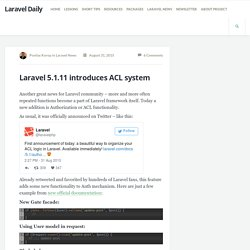 Laravel 5.1.11 introduces ACL system - Laravel Daily