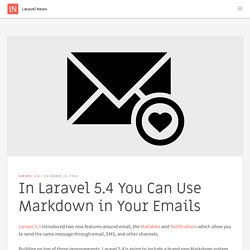 In Laravel 5.4 You Can Use Markdown in Your Emails