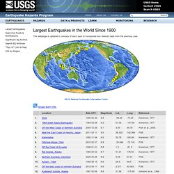 Les plus gros séismes depuis 1900 (carte - USGS)