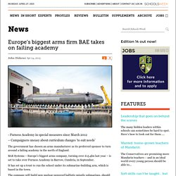 Europe's largest arms firm BAE chosen to sponsor failing Furness Academy