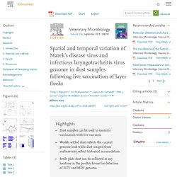 Veterinary Microbiology Volume 236, September 2019, Spatial and temporal variation of Marek's disease virus and infectious laryngotracheitis virus genome in dust samples following live vaccination of layer flocks