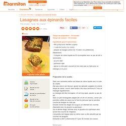Lasagnes aux épinards faciles : Recette de Lasagnes aux épinards faciles