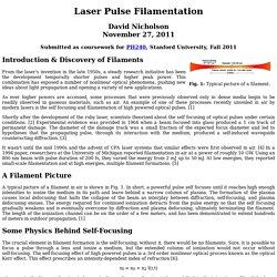 Laser Pulse Filamentation
