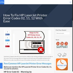 How To Fix HP LaserJet Printer Error Codes 02, 11, 12 With Ease