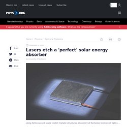 Lasers etch a 'perfect' solar energy absorber
