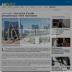 Jorf Lasfar : Une usine d'acide phosphorique 100% marocaine