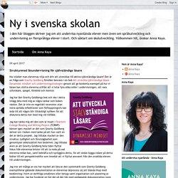 Ny i svenska skolan: Strukturerad läsundervisning för självständiga läsare