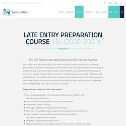 13+ Late Entry Test - Tops Tuition