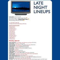 The Late Night TV Page - Talk Show Guest Listings