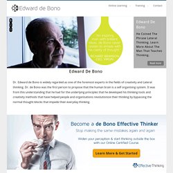 EDWARD DE BONO'S AUTHORISED WEBSITE - HOME PAGE