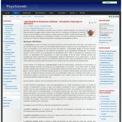 Latéralisation et dominance cérébrale - introduction historique et définitions