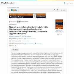 Atypical speech lateralization in adults with developmental coordination disorder demonstrated using functional transcranial Doppler ultrasound