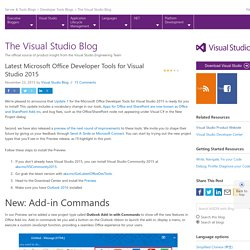 Latest Microsoft Office Developer Tools for Visual Studio 2015