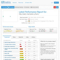 Latest Performance Report for: