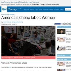 The latest: Women earn only 74 cents a dollar - Nov. 9, 2015