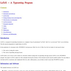 LaTeX -- A Typesetting Program