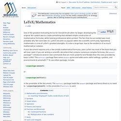 LaTeX/Mathematics