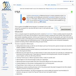 LaTeX - Wikibooks, collection of open-content textbooks