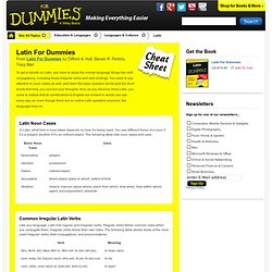 Latin For Dummies Cheat Sheet