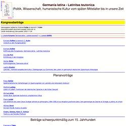 Germania latina - Latinitas teutonica: Acta electronica