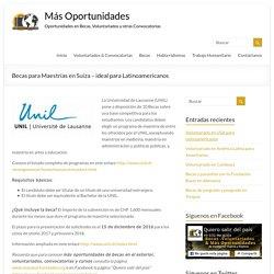Becas para Maestrías en Suiza - ideal para Latinoamericanos - Más Oportunidades