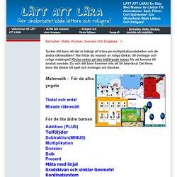Barnsidan. Matte, klockan, svenska och engelska.