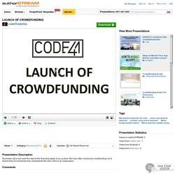 LAUNCH of CROWDFUNDING