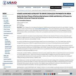 USAID Launches Catalyst to Drive Cashless Payments in India