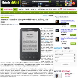Amazon launches cheaper WiFi only Kindle 3 for