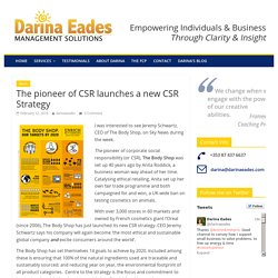 The pioneer of CSR launches a new CSR Strategy - Darina Eades Management Solutions