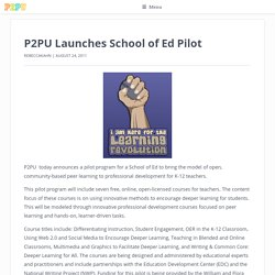 Launches School of Ed Pilot | P2PU Blog